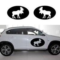 58 cm x 34.8 cm 2 x Moose Ovale Graphique (un Pour Chaque Côté) Autocollant De Voiture Pour Les Voitures côté, camion Fenêtre, Porte Automatique Vinyle Decal 8 Couleurs