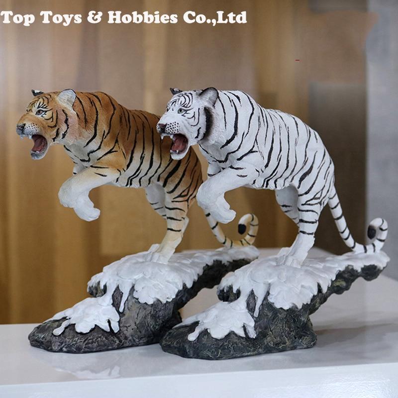 27cm 1/10 tigre de neige blanc Simulation tigre modèle nord-est tigre décoration artisanat collection Figure modèle jouets avec boîte