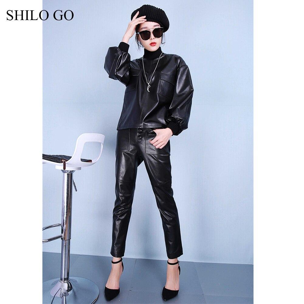 Femmes Noir Pantalon Haute Moulant De Véritable Mouton Poche Bouton argent Avant Taille En Shilo Aller Cuir Mode Stretch Peau Printemps 54TIqUw