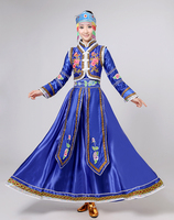 The Mongolian Top Bowl Dance Costume Female Red Dress Zhuoma Stage Performance Clothing Blue Mongolian Dresses