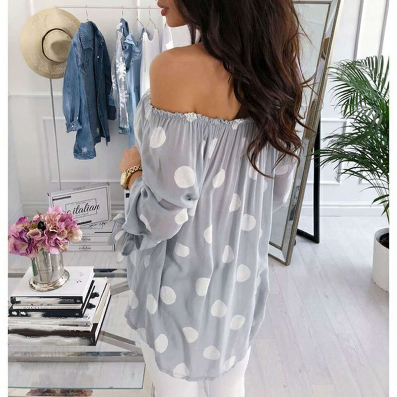 Autumn Polka Dot Shirt Blouse Women Long Sleeve Sexy Off Shoulder Top Loose All-match Women Shirts Blusas Plus Size 5XL WS9516M 1