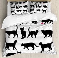 Cat Duvet Cover Set Black Cat Silhouettes in Different Poses Domestic Pets Kitty Paws Tail and Whiskers 4 Piece Bedding Set
