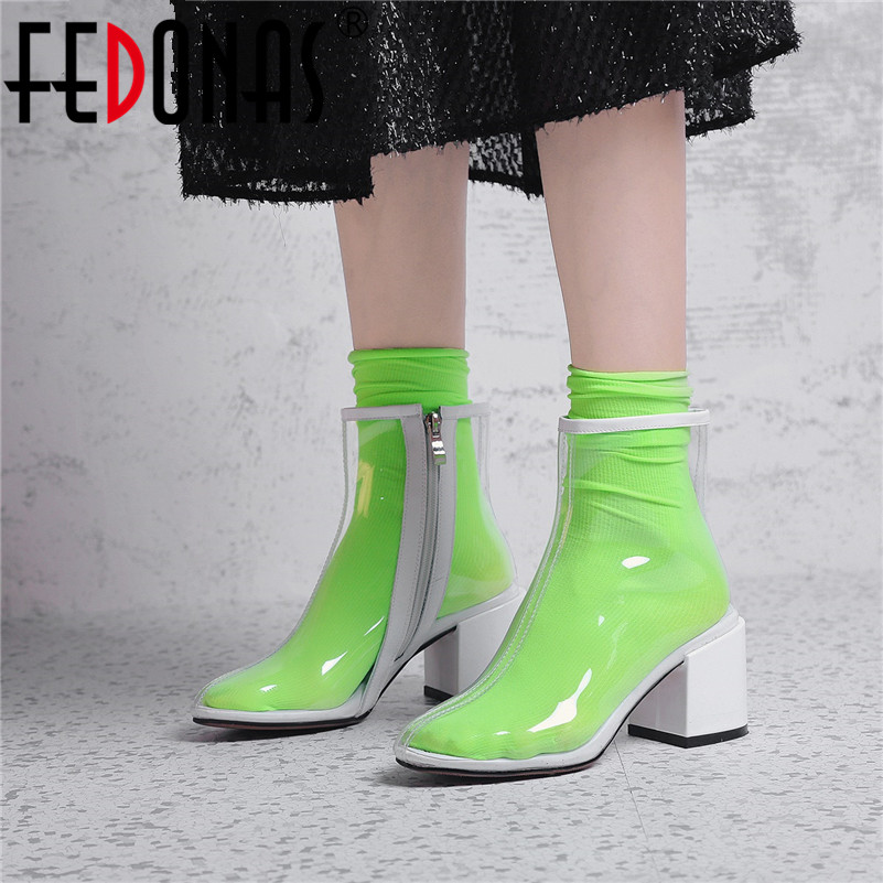 FEDONAS Brand Colorful Women Thick High Heeled Ankle Boots Fashion Zipper Transparent High Fashion Boots Female