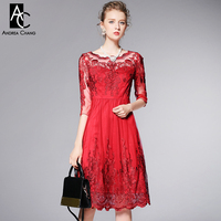 Spring Summer Runway Designer Womens Dresses Red Blue Ball Gown High Quality Vintage Flower Pattern Embroidery