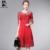 Primavera verão runway designer vestidos das mulheres azul vermelho vestido de baile de alta qualidade padrão de flor do vintage da marca bordado evento dress