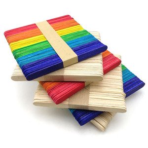 Image 4 - 50pcs Wooden Popsicle Stick Kids Hand Crafts Art Ice Cream Lolly Cake DIY Making Funny Gift Baby Shower Birthday Decor Supplies