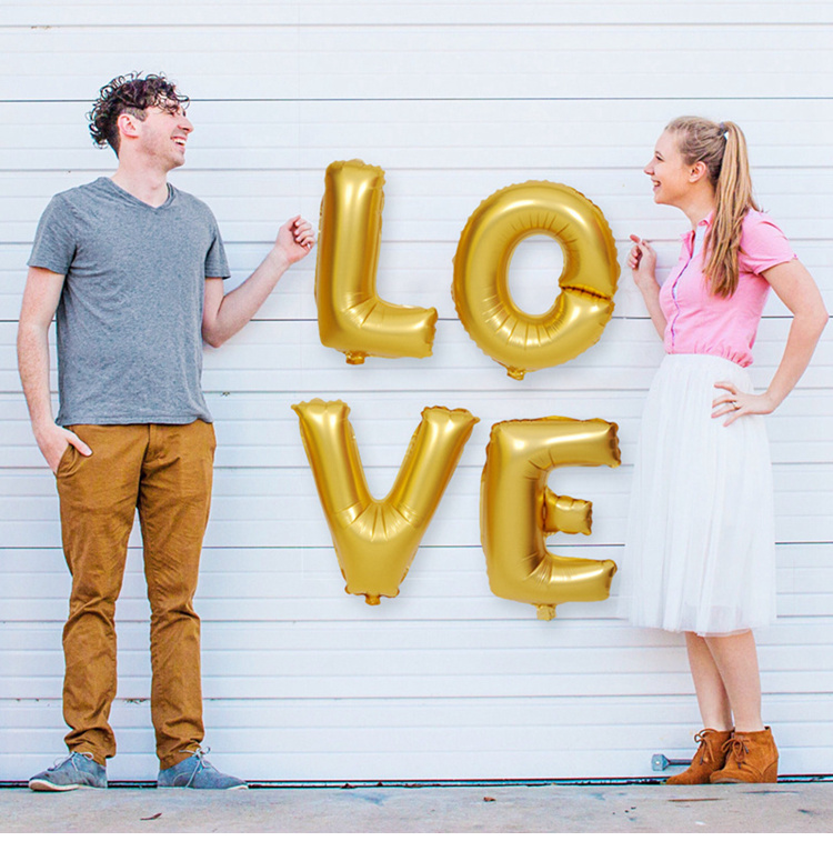 US $1 69  FENGRISE Gold Letter Foil Balloon Champagne LOVE Wedding  Decoration Balloons Anniversary Valentines Birthday Party Supplies -in  Ballons &