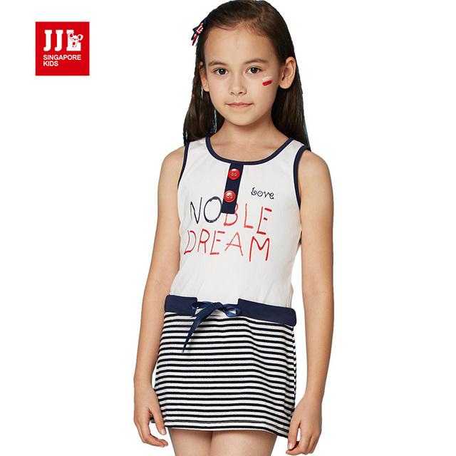 Niñas vestido de algodón niñas vestido de la princesa niños del vestido del verano niños vestidos para niñas tamaño 6-15 t niñas ropa los niños coreanos