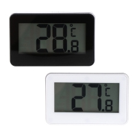 OOTDTY Plastic White/Black Fridge Refrigerator Thermometer IPX3 Waterproof with Hanging Hook Stand LCD Display Screen