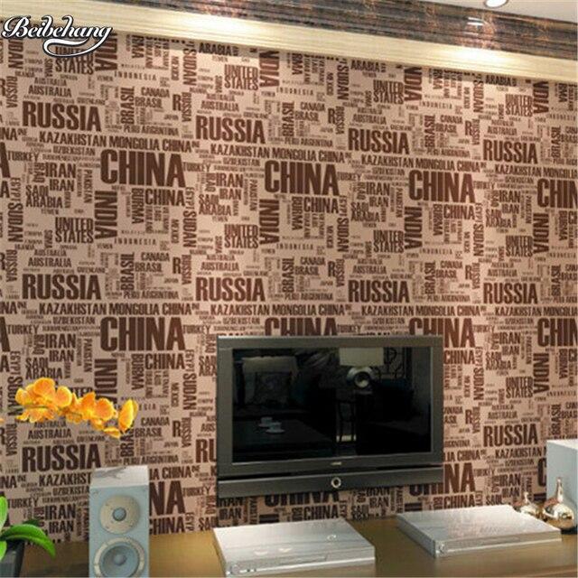 Beibehang Einfache Modern Fashion Braun Buchstaben Alphabet Tapete  Eigenschaften Cafe Bar Hintergrund Wand Silber Tapete