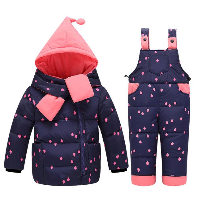 2018 Winter Baby Girls Down Jackets Kids Snowsuit Children clothing Sets Warm baby down Jackets Outerwear Coat+Pants Jumpsuit