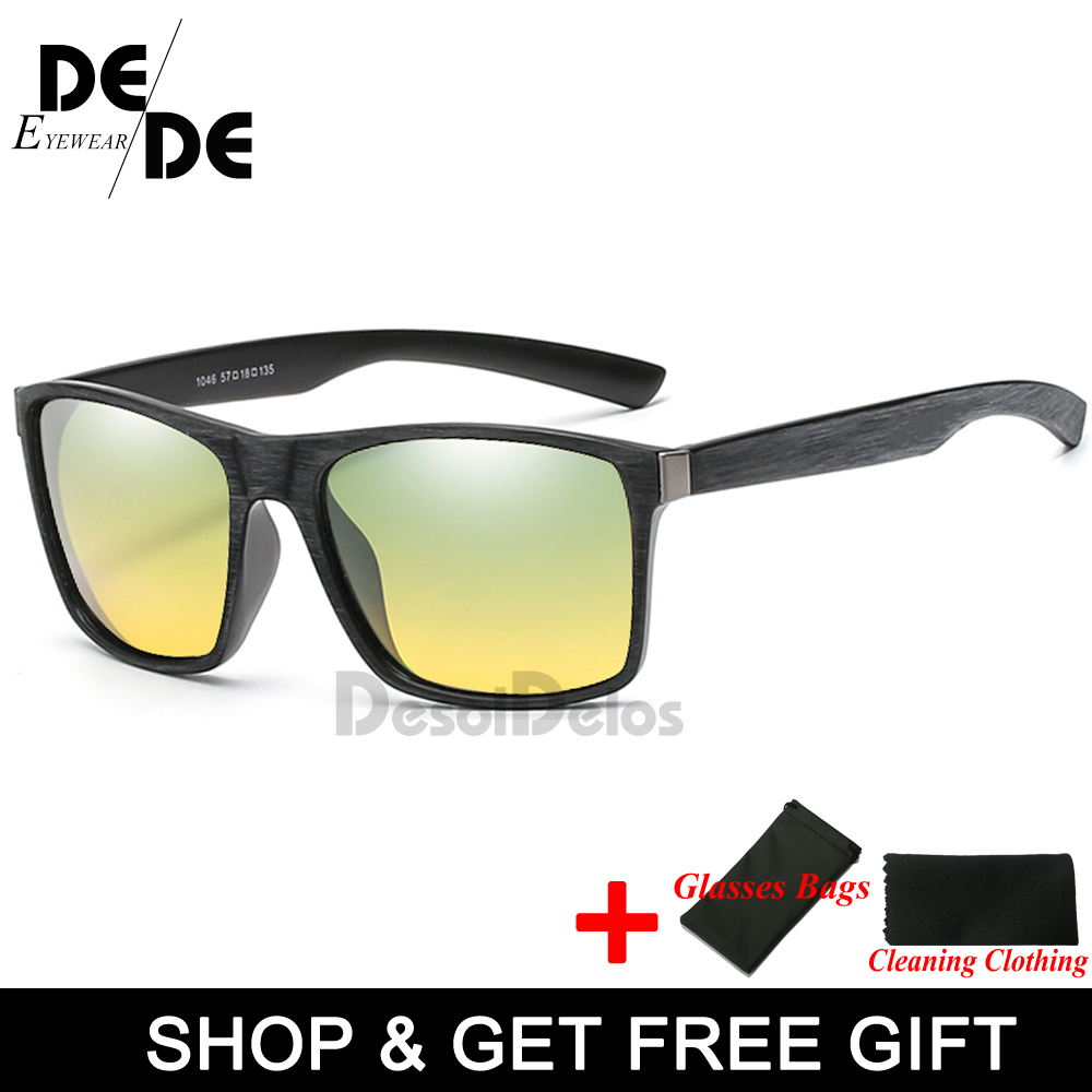 Mens Day and Night Driving Polarized sunglasses yellow lens Men night vision goggles