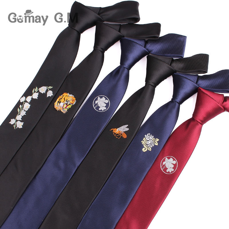 New Embroidery Solid Neck Ties for Men Fashion Casual Tie Gravatas Business Skinny Mens Neckties Corbatas Men Ties For Wedding
