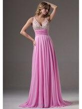 2016 Real Beaded Pink Chiffon Long Evening Dresses Tank Straps V Neck Floor Length Girls Formal Evening Gowns robe de soiree
