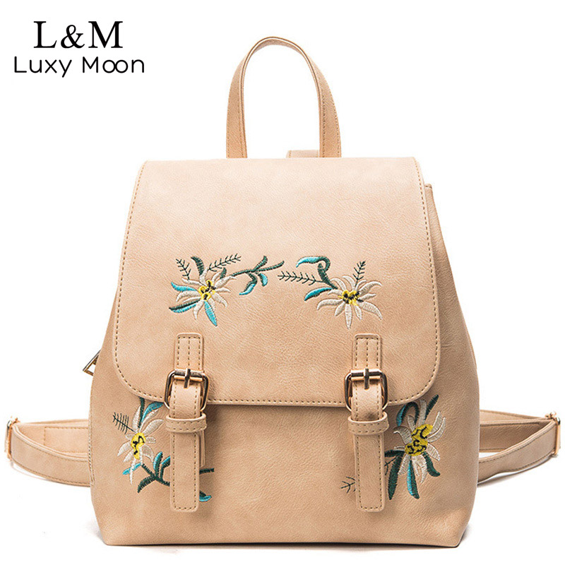 LUXY MOON Fashion Floral PU Leather Backpack Women Embroidery School Bag For Teenage Girls Small Backpacks Gray Sac a dos XA20H women backpacks fashion pu leather shoulder bag small backpack women embroidery dragonfly floral school bags for girls