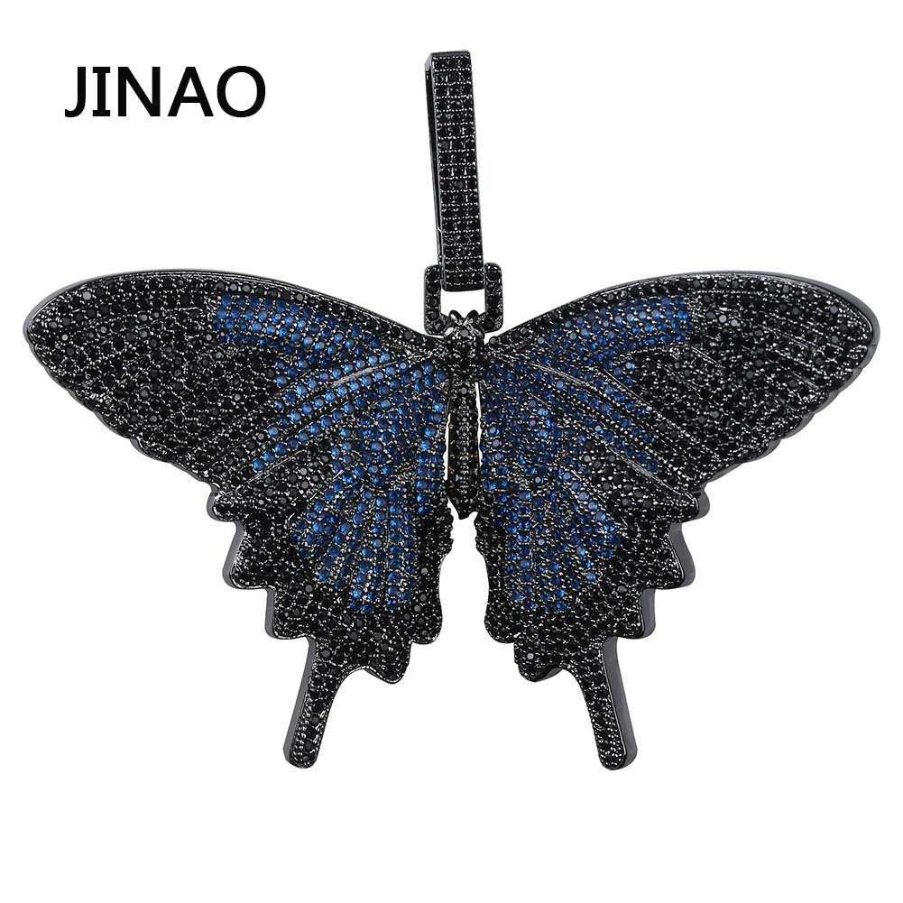 JINAO New Iced Out Insect Multicolor Butterfly Pendants&Necklaces Micro Pave Cuban Zircon Stone Pendant Necklace Hip Hop Gift-in Pendant Necklaces from Jewelry & Accessories