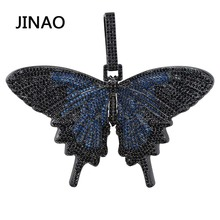 JINAO New Iced Out Insect Multicolor Butterfly Pendants&Necklaces Micro Pave Cuban Zircon Stone Pendant Necklace Hip Hop Gift