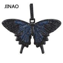 JINAO nowy Iced Out Insect Multicolor Butterfly wisiorki i naszyjniki Micro Pave kubański cyrkon kamień naszyjnik Hip Hop prezent