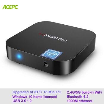 ACEPC T8 mini-pc windows 10 W8 pro Core Intel Wintel x5-Z8350 Win10 casa licenciado 2 GB 32 GB eMMC 4 K/WiFi/BT4.0 mini pc