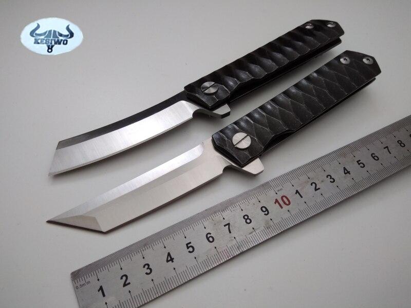 KESIWO tactical folding knife D2 blade CNC steel handle ball bearing flipper outdoor camping survival pocket knives EDC tools