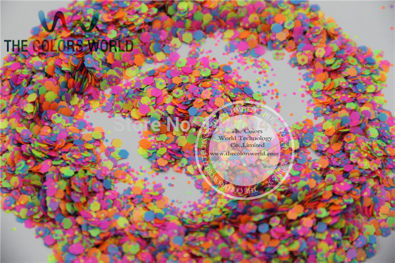 Mix Neon Colors Solvent Resistant HEXAGON Shape Glitter Sequins,Spangles for nail art decoration 1pack=50g hr25 148 mix 2 5 mm pastel matt pearlescent colors heart shape glitter for nail art and diy supplies1pack 50g