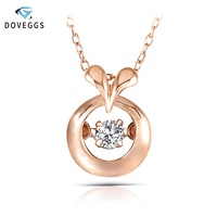 DovEggs 10K Rose Gold 0.1carat Small Diamond Pendant Necklace For Women Dancing Setting Diamond Link Chain Gold Necklace Jewelry