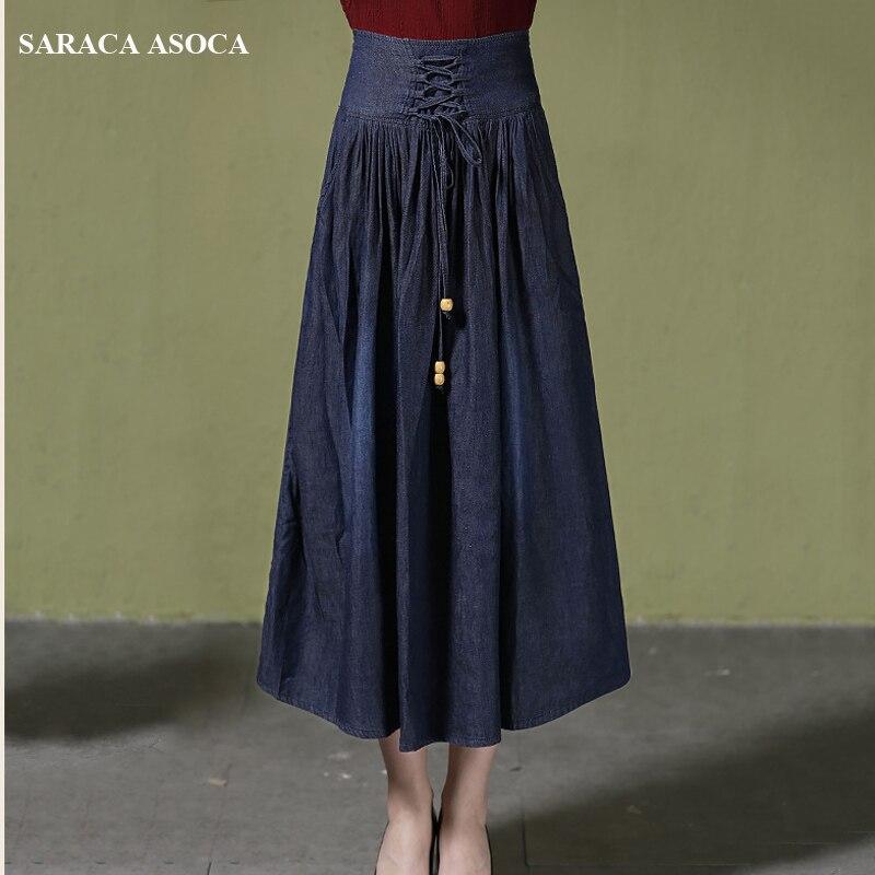 Azul Falda Oscuro Cintura Para Dark Plisada Más Alta 6xl Mediados Casual Color Niñas Jean 5xl Las Mujeres De Blue Denim Tamaño becerro Busto U6qv6Yxzw