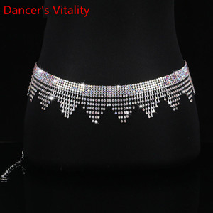 Image 3 - New Belly Dance Costume Jewelry Crystal Rhinestone Belly Dance Belt Wave fringe Waist Chain