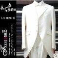 Coat + pants + shirt + vientre cinturón + tie 5 sets envío gratis 2016 moda blanco trajes para hombre de la boda Evenging vestidos