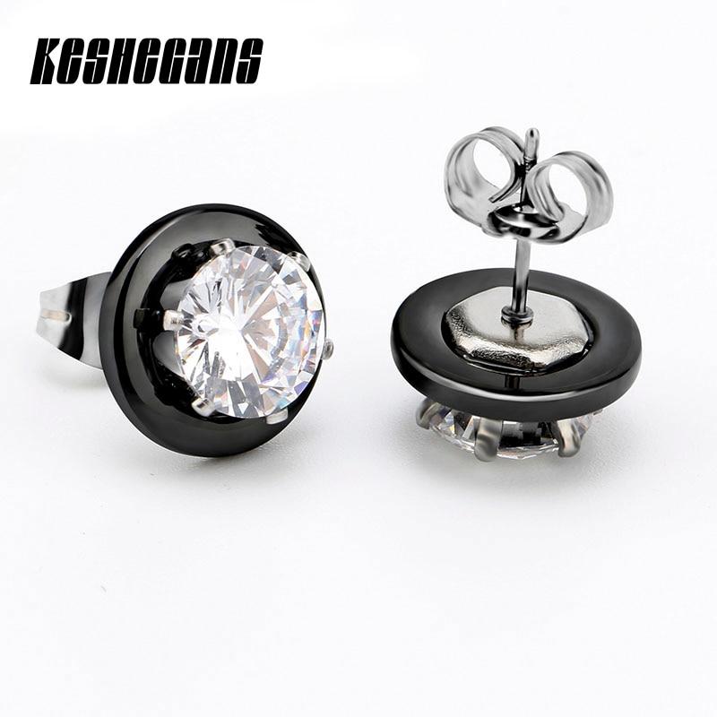 New Arrival Black White Ceramic Earrings For Women Earrings Fashion Jewelry 2 Carat Crystal Stud Silver