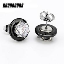 New Arrival Black White Ceramic Earrings For Women Earrings Fashion Jewelry 2 Carat Crystal Stud Silver Earrings Wedding Gift