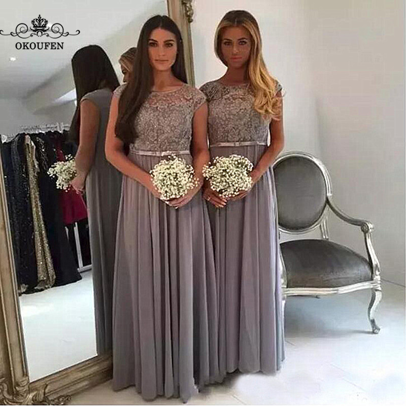 Flowing Chiffon   Bridesmaid     Dresses   With Capped Sleeves Sheer Lace Top 2018 Long Maid Of Honor   Dress   Party Gown Vestido Madrinha