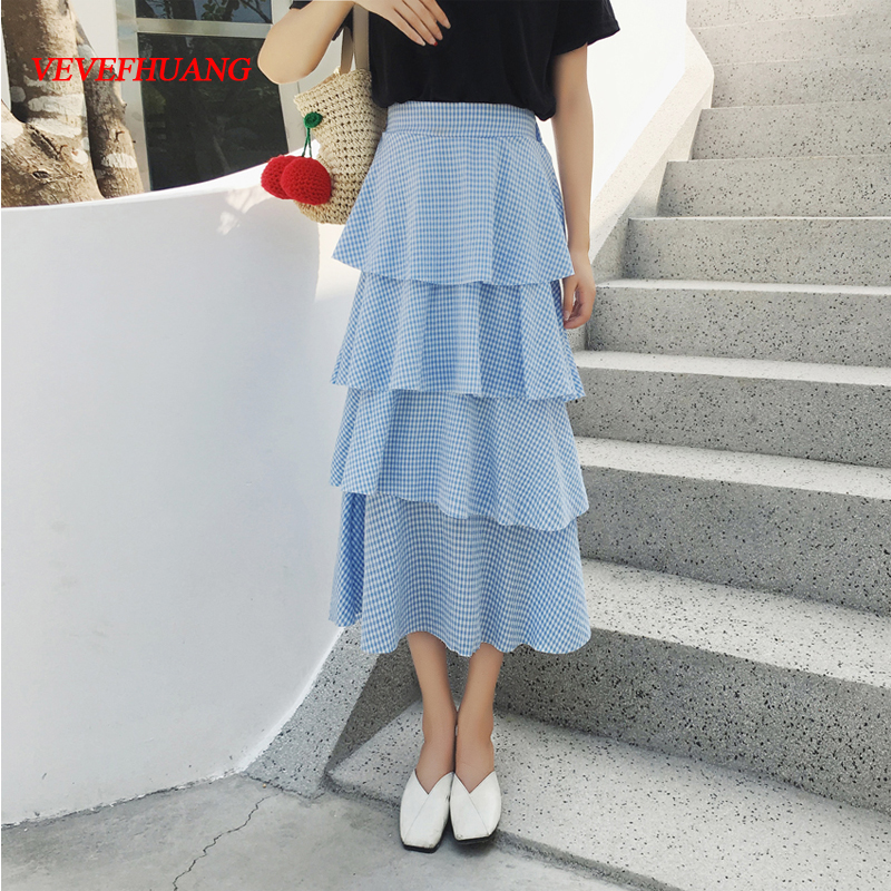 Korean Midi Skirts 2018 New Summer Women High Waist Long Cake Skirts Blue Black Plaid Sweet Saia L1603