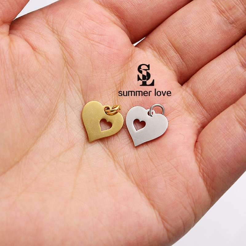 Stainless Steel Hollow Love Heart Charm Pendant Necklace Bracelet Making Jewelry Components Wholesale 10 Pcs Lot