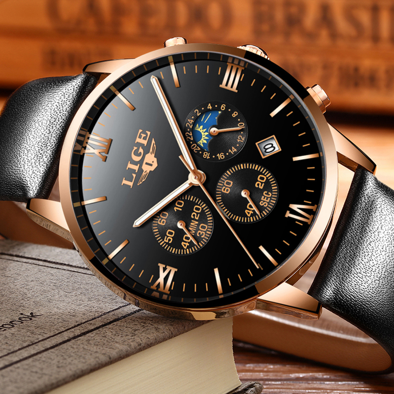 Mens Watches Luxury Business Top Brand LIGE Sports Casual Quartz Watch Mens Fashion Waterproof Leather Watch Relogio Masculino