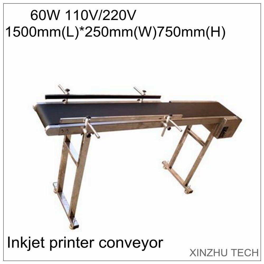 Convoyeur d'imprimante à jet d'encre de haute qualité 1500mm * 250mm * 750mm 60 W convoyeur à bande de transporteur de bande de Table pour bouteilles/boîte/sac/bâton