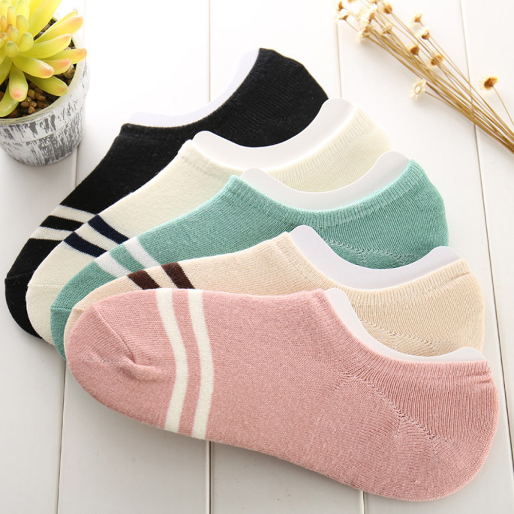 La MaxPa comfortable 5pairs cotton girl women's socks ankle low female invisible color hosiery ladies boat sock slipper k435