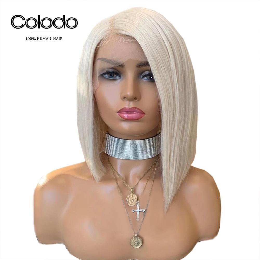 COLODO Platinum Blonde Human Hair Wigs Brazilian Remy Side Part Bob Wig Pre Plucked Full Lace Human Hair Wigs for Black Women(China)