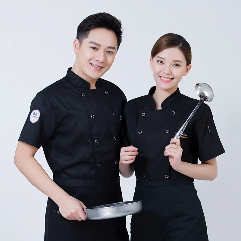 2018New Chef Uniforms Clothing Short Sleeve Men Food Services Cooking Clothes 4-color Big Size Uniform Chef Jackets