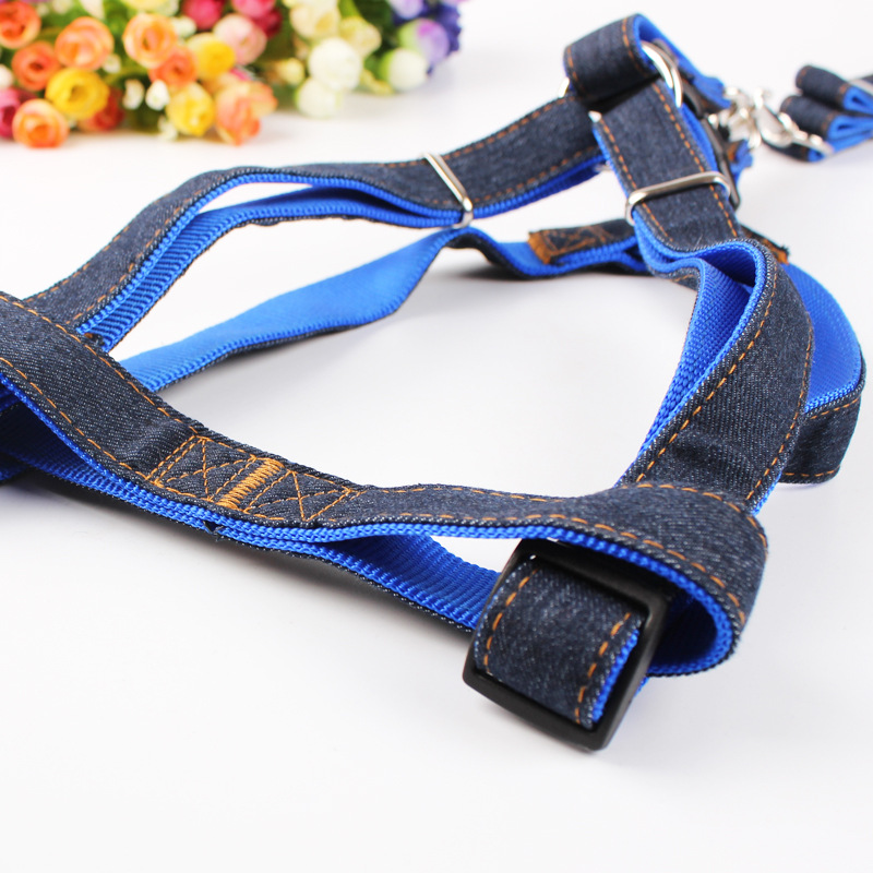 Free Shipping 4Size (S M L XL) Colorful Jean Denim Leash Harness Dog Collar Chain Cat Rope Belt Adjustable Collar Dogs (00229)