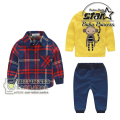 Baby Boy Clothing 2016 3pcs Kids Yellow Cotton Long Sleeve Shirt Hoodies + Elastic Waist Long Pants Outfit
