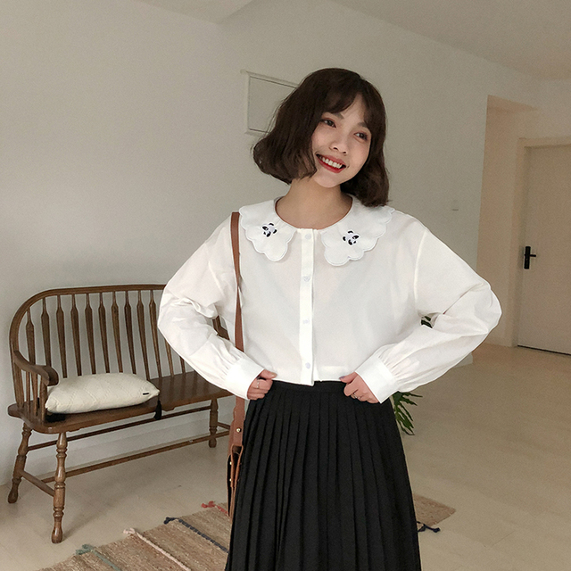 Blusas primavera mulheres roupas de verão 2019 coreano moda harajuku mulheres blusa tops bordado bonito panda dos desenhos animados camisa branca