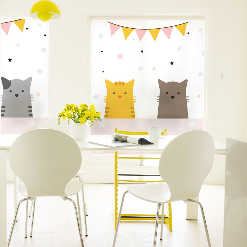 Cute cat Glass Window Film For Living Room/Bathroom ...