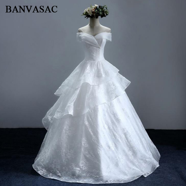 BANVASAC 2017 New Elegant Embroidery V Neck Wedding Dresses Short ...