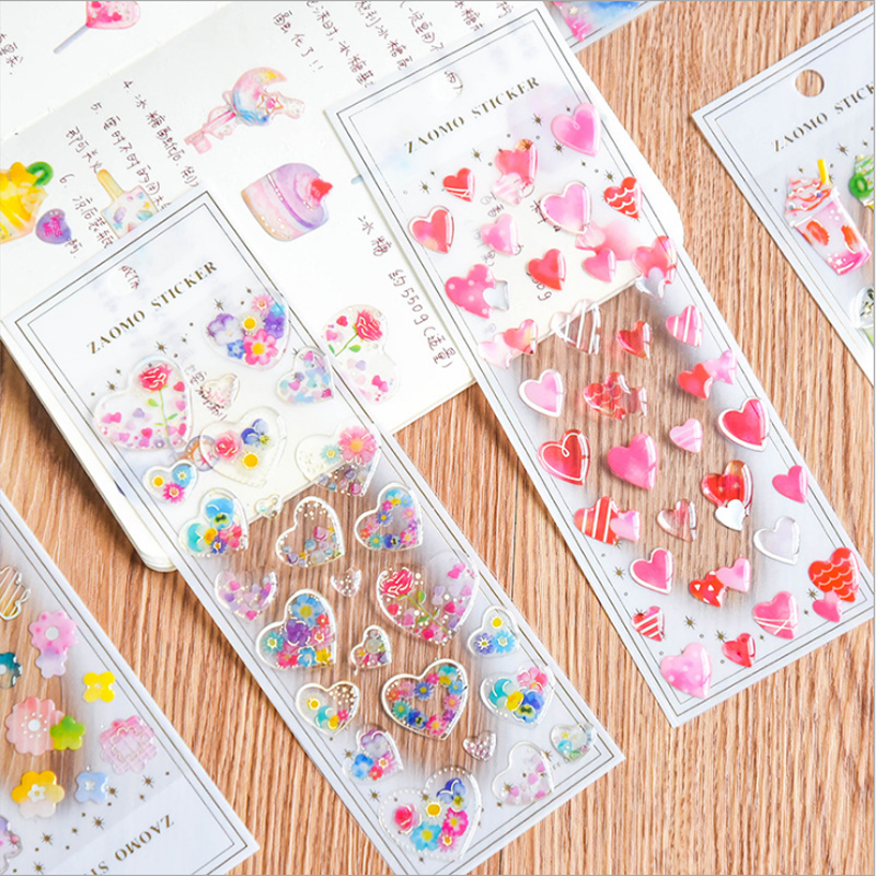 Kawaii 3D Heart Crystal Transparent Sticker Decoration DIY Album Diary Planner Scrapbooking Label Sticker