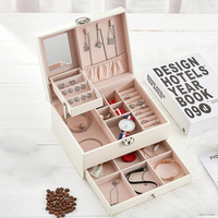 Necklaces Multi Layer Portable Gift Earrings Makeup Organizer Organizer Travel Stud Jewelry Box Rings Simple Solid With Key