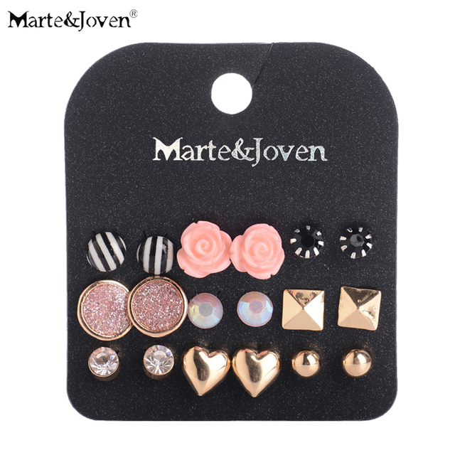 [Marte&Joven] Wholesale Gold Lovely Heart Black White Stripe Stud Earrings Mixed Rose Earring Sets For Teen Girl 9 Pairs Jewelry