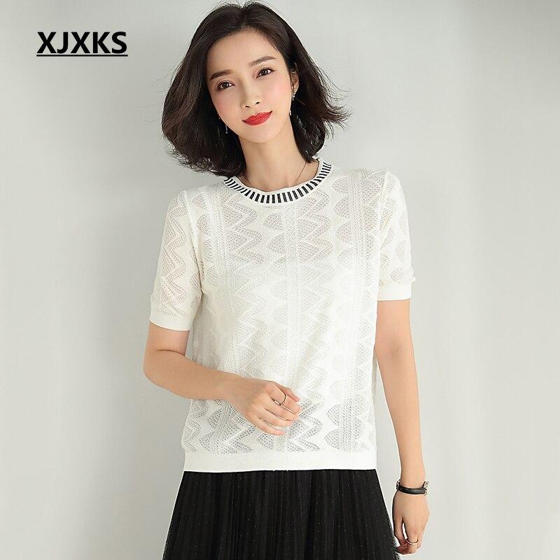 XJXKS Knitted Top Summer T Shirt Women Casual Short SleeveT-Shirt Hollow Breathable Elasticity Knittwear Tops Female Tshirt