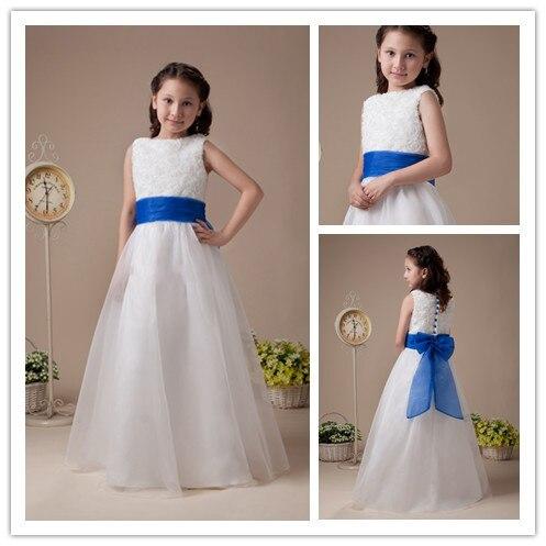 d4e8e79123c Cute High Collar Ruffle Organza Girls Dresses Flower Girl Royal Blue Sash  Kids Evening Gowns 2014