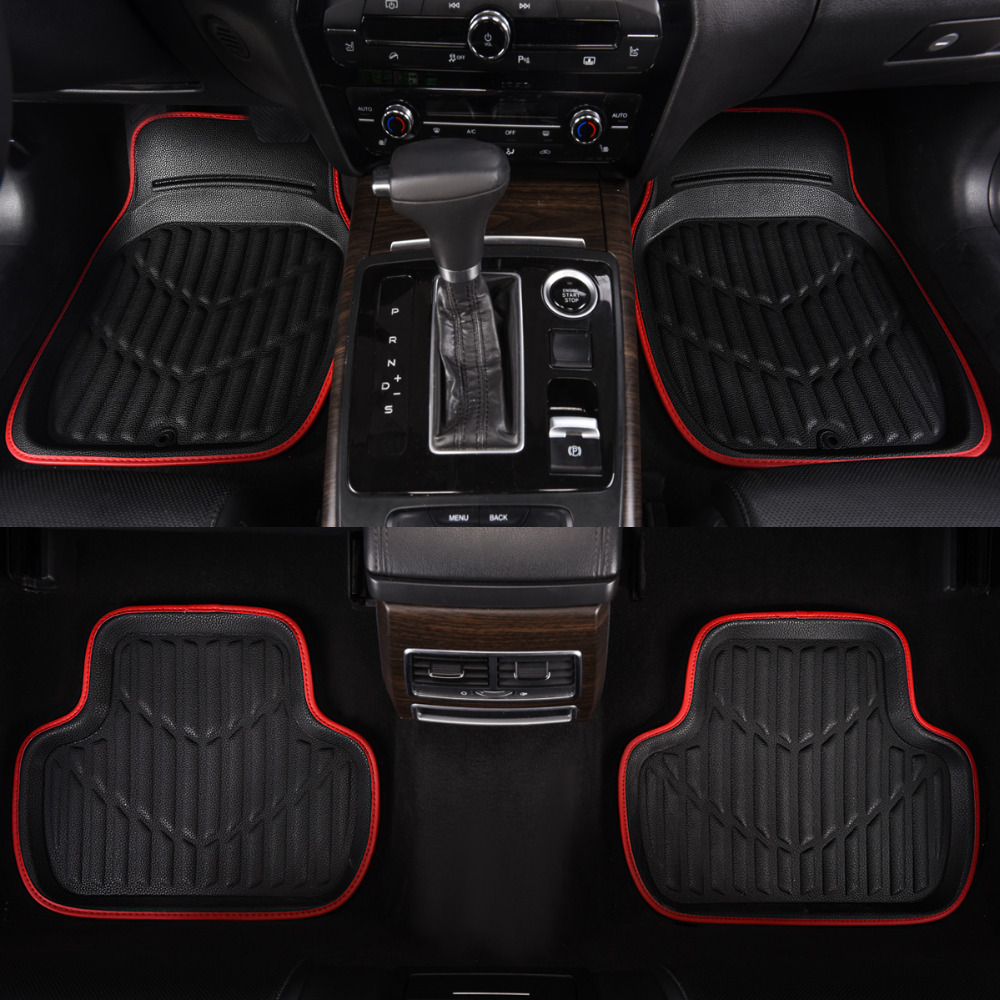 Car-pass Universal Car Floor Mat Red Pu Leather Front Rear Waterproof Anti-dirty Floor Mats For bmw3 nissan vw rear waterproof red